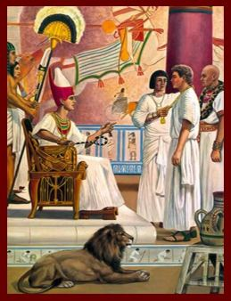 """Joseph being """"dressed up"""" by Pharaoh in Egypt."""