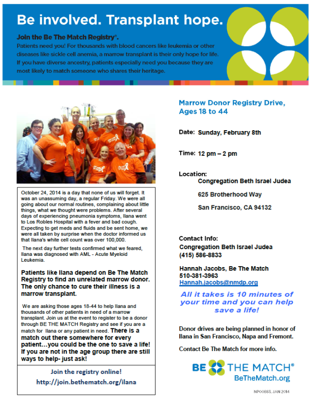 Bone marrow donor registry drive on February 8, from 12pm-2pm