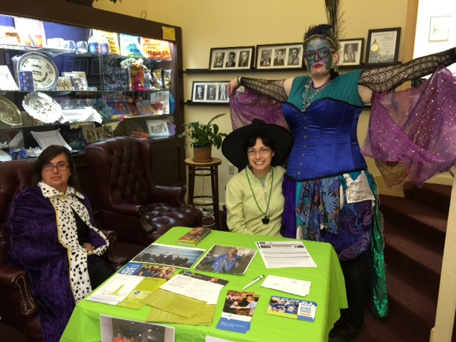 Volunteers staffing the Be The Match drive booth at CBE on Purim